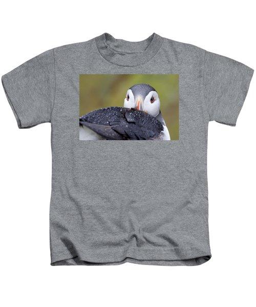Atlantic Puffin With Rain Drops Kids T-Shirt