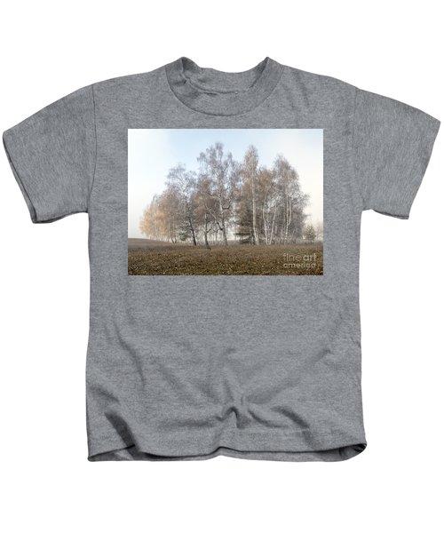 Autumn Landscape In A Birch Forest With Fog Kids T-Shirt
