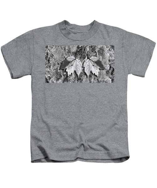 Autumn Leaf Abstract In Black And White Kids T-Shirt