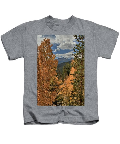 Autumn Leaves And Longs Peak Kids T-Shirt
