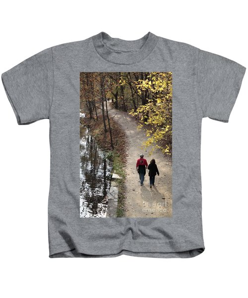 Autumn Walk On The C And O Canal Towpath With Oil Painting Effect Kids T-Shirt