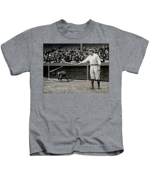 Babe Ruth At Bat Kids T-Shirt by Jon Neidert