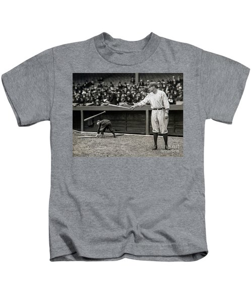 Babe Ruth At Bat Kids T-Shirt