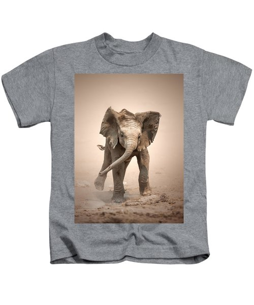 Baby Elephant Mock Charging Kids T-Shirt