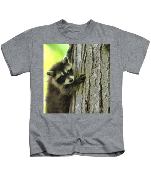 Baby Raccoon In A Tree Kids T-Shirt by Dan Sproul