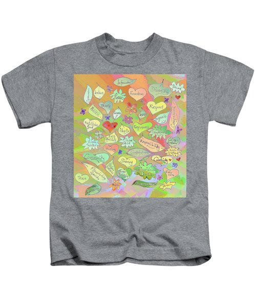 Back To The Garden Leaves, Hearts, Flowers, With Words Kids T-Shirt