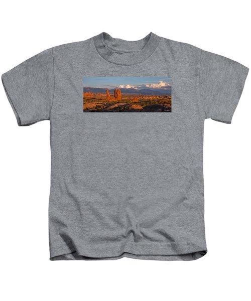Balanced Rock And Summer Clouds At Sunset Kids T-Shirt