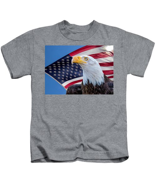 Bald Eagle And American Flag Kids T-Shirt
