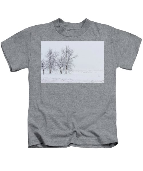 Bare Trees In A Snow Storm Kids T-Shirt