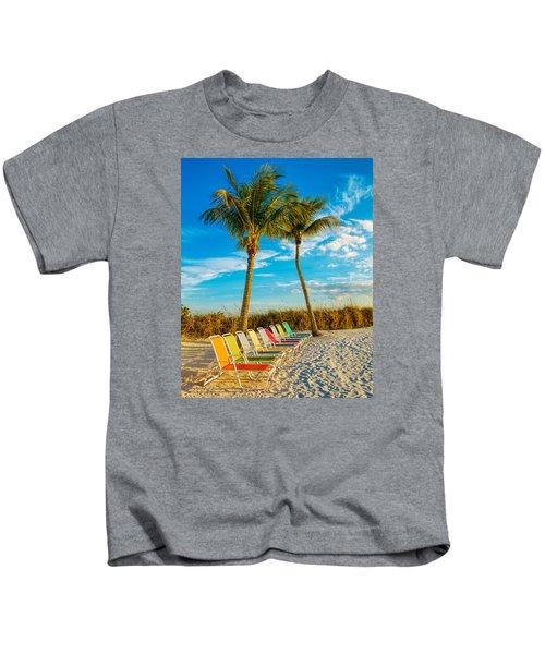 Beach Lounges Under Palms Kids T-Shirt
