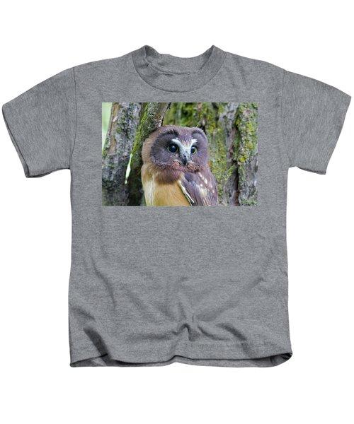 Beautiful Eyes Of A Saw-whet Owl Chick Kids T-Shirt