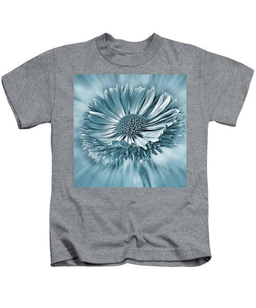 Bellis In Cyan  #flower #flowers Kids T-Shirt