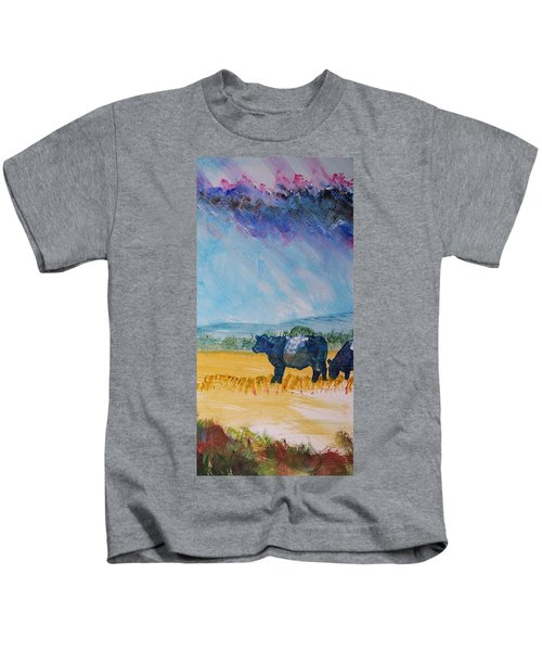 Belted Galloway Cows Narrow Painting Kids T-Shirt