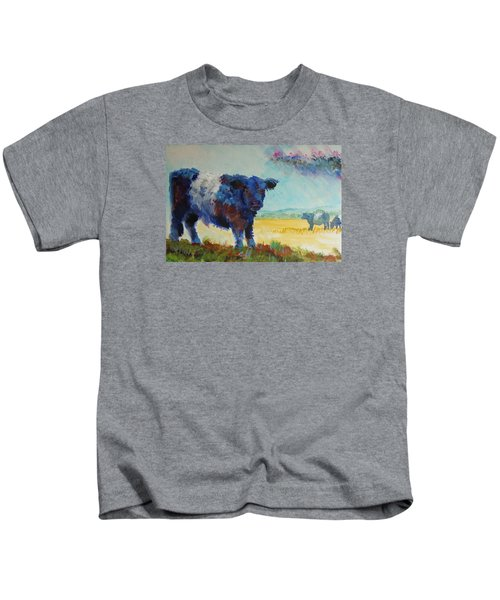 Belted Galloway Cows Painting - About To Rain Kids T-Shirt