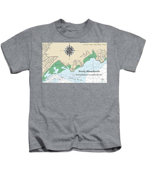 Beverly Cove Nautical Map Kids T-Shirt