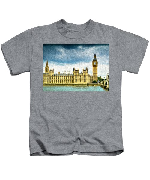 Big Ben And Houses Of Parliament With Thames River Kids T-Shirt