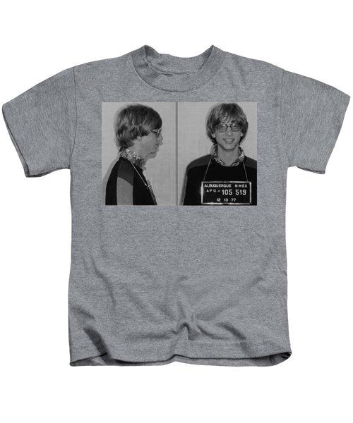 Bill Gates Mug Shot Horizontal Black And White Kids T-Shirt