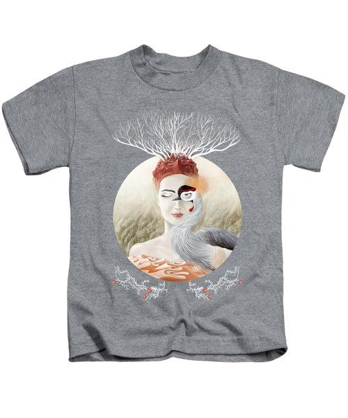 Bird Of Cranes Kids T-Shirt by Ruta Dumalakaite