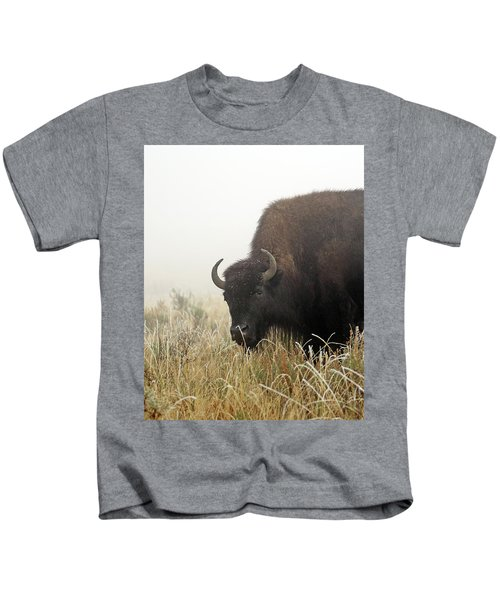 Bison In The Frosty Morning Kids T-Shirt