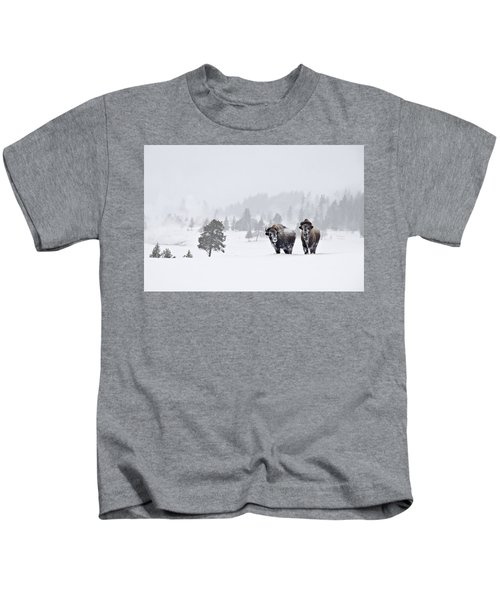 Bison In The Snow Kids T-Shirt