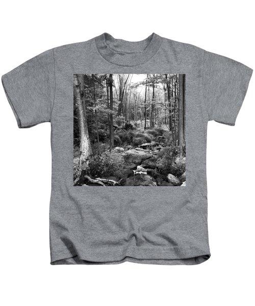 Black And White Babbling Brook Kids T-Shirt