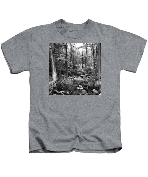 Black And White Babbling Brook Kids T-Shirt