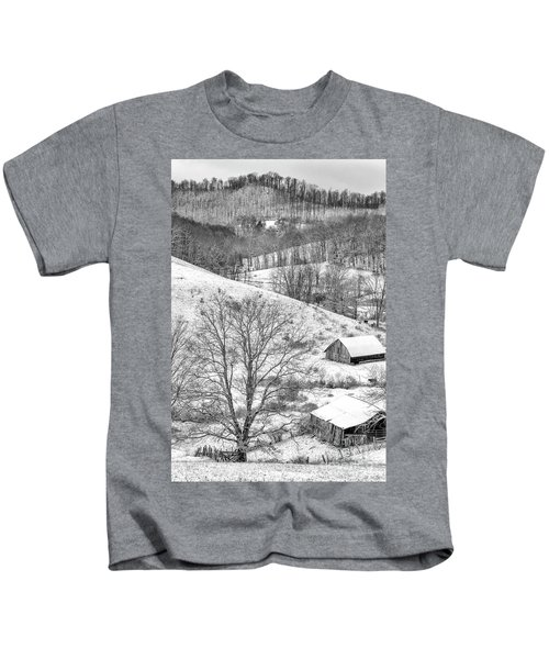 Black And White In Winter Kids T-Shirt