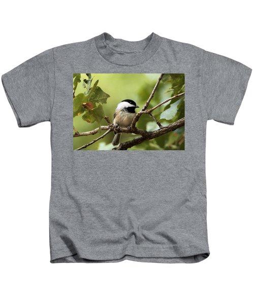 Black Capped Chickadee On Branch Kids T-Shirt