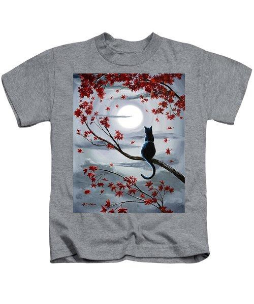 Black Cat In Silvery Moonlight Kids T-Shirt