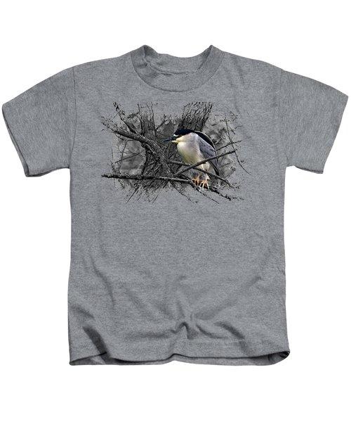 Black Crowned Night Heron 001 Kids T-Shirt