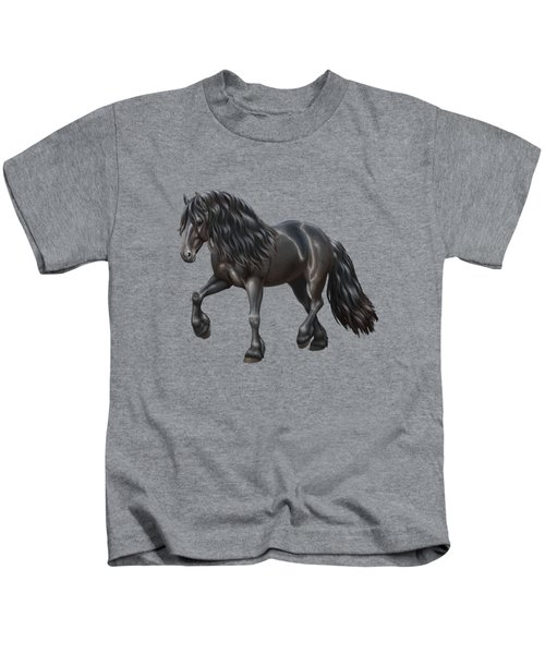Black Friesian Horse In Snow Kids T-Shirt by Crista Forest