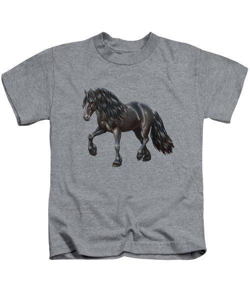 Black Friesian Horse In Snow Kids T-Shirt