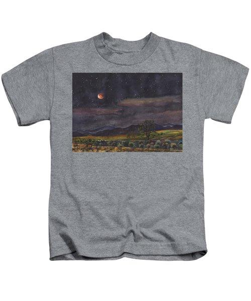 Blood Moon Over Boulder Kids T-Shirt