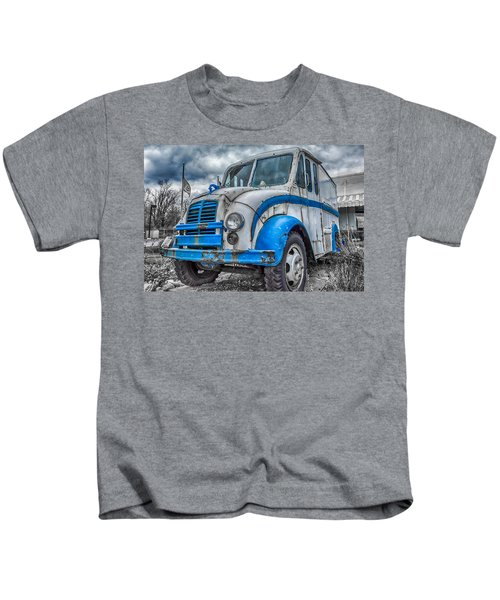 Blue And White Divco Kids T-Shirt