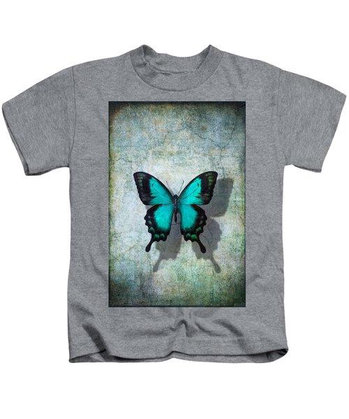 Blue Butterfly Resting Kids T-Shirt