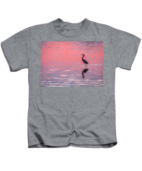 Blue Heron - Pink Water Kids T-Shirt