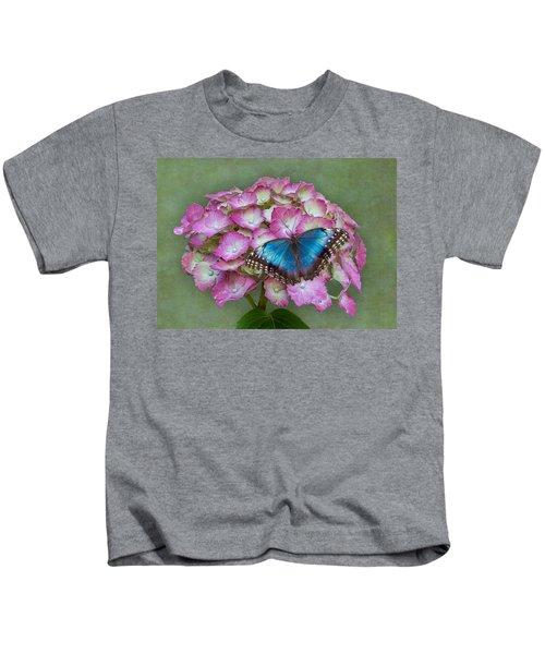 Blue Morpho Butterfly On Pink Hydrangea Kids T-Shirt