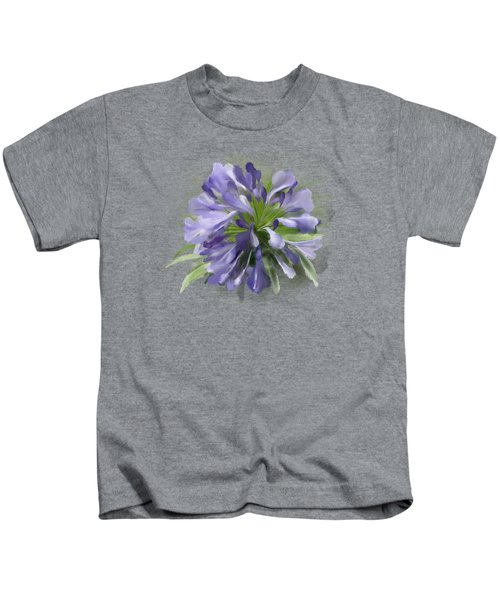 Blue Purple Flowers Kids T-Shirt