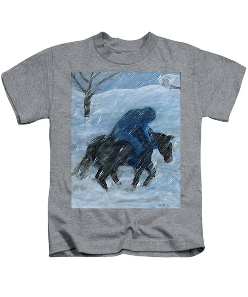 Blue Rider On Horse Kids T-Shirt