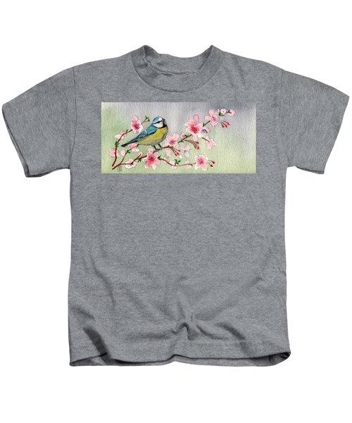 Blue Tit Bird On Cherry Blossom Tree Kids T-Shirt