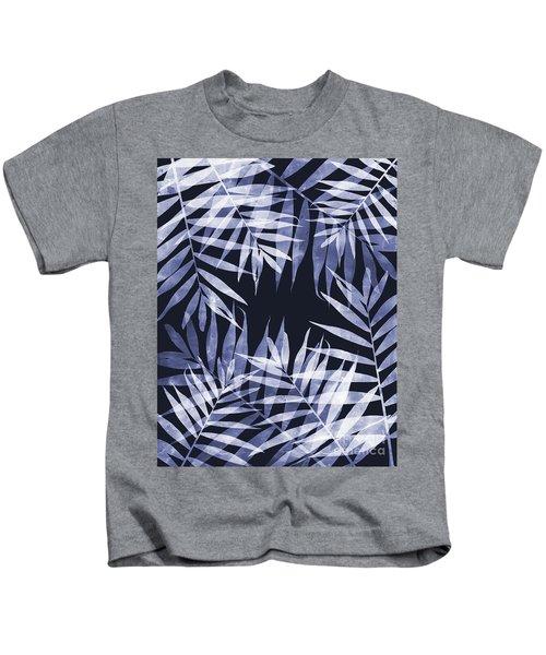 Blue Tropical Leaves Kids T-Shirt