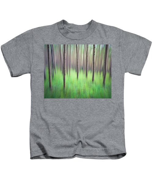 Blurred Aspen Trees Kids T-Shirt