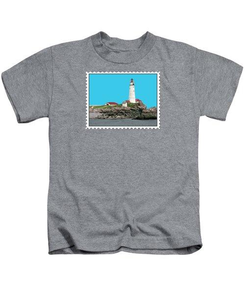 Boston Harbor Lighthouse Kids T-Shirt by Elaine Plesser