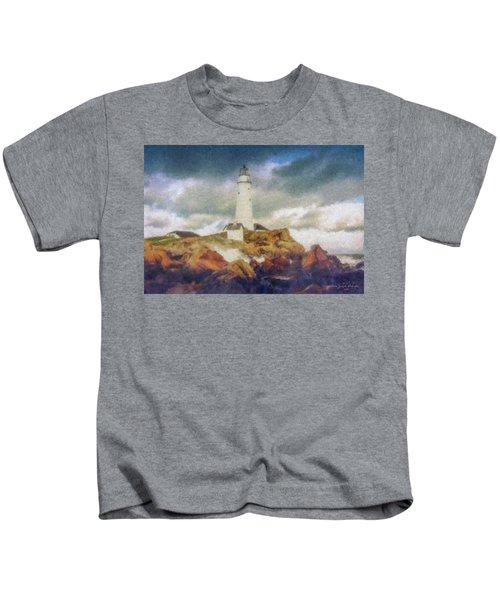 Boston Light On A Stormy Day Kids T-Shirt