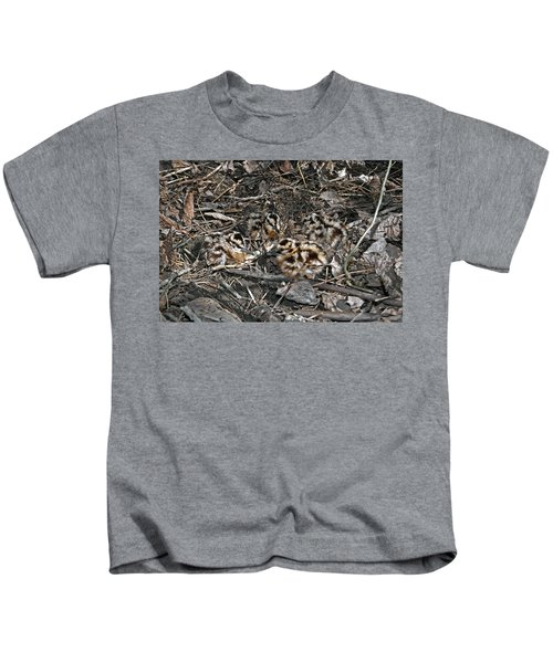 Brood Of Camouflaged American  Woodcock Chicks Kids T-Shirt