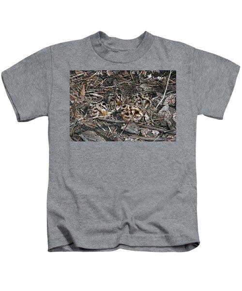 Brood Of Camouflaged American  Woodcock Chicks Kids T-Shirt
