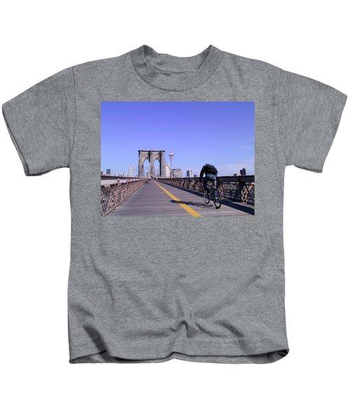 Brooklyn Bridge Bicyclist Kids T-Shirt