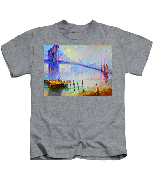 Brooklyn Bridge In A Foggy Morning Kids T-Shirt by Ylli Haruni