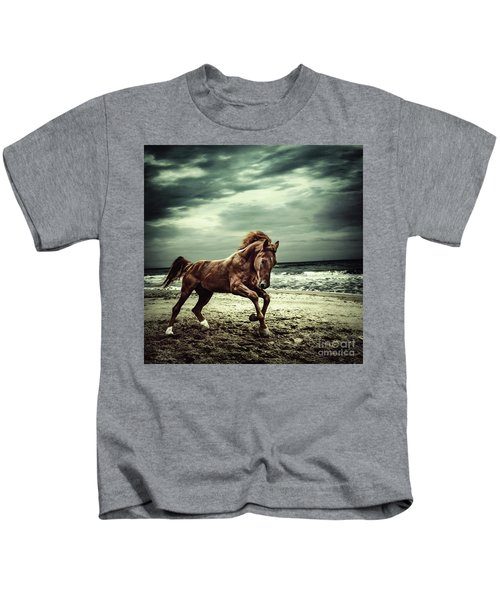 Brown Horse Galloping On The Coastline Kids T-Shirt