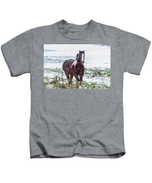 Brown Horse Galloping Through The Snow Kids T-Shirt